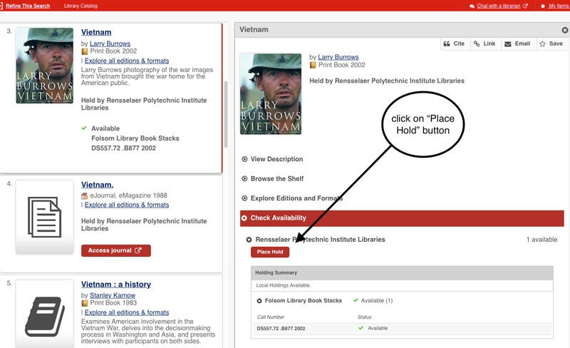 Screenshot of a results page from the library catalog for the book titled Vietnam, by Larry Burrows